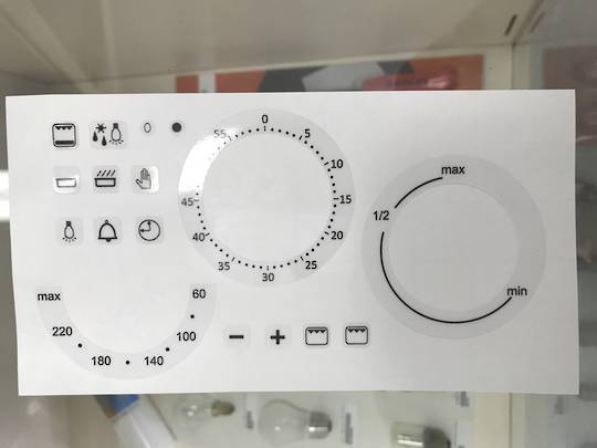 oven control panel decal sticker SYMBOLS label 6,