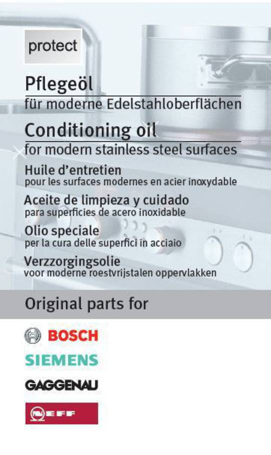 Bosch Simens Gaggenau Asko Miele Care product Stainless Steel Conditioning Oil,
