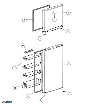 Haier Fridge Freezer middle Shelf on Door RF217TCRW1, HRZ-241, HRFZ-213, HRFZ213SS,