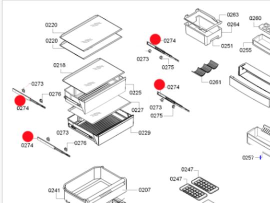 BOSCH FRIDGE telescopic drawer rail 07020KGN53AI30A,