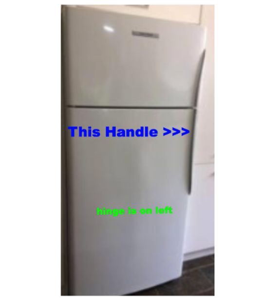 Elba fisher paykel fridge door Handle Large Curve Plastic Left hinge Fridge on Bottom  RF331, E331, E372, RF440, RF521, E413, E4