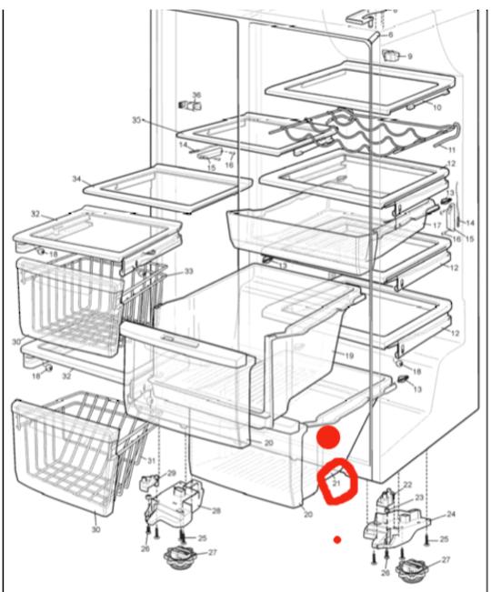 Westinghouse Electrolux Veggie Bin  lower **only** rear section   WSE6070WA,