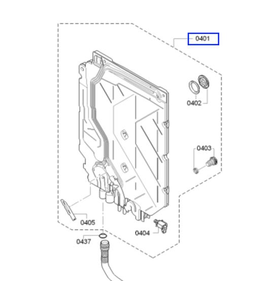 Bosch Dishwasher Heat exchanger water chamber SMS60D08AU/46 ,