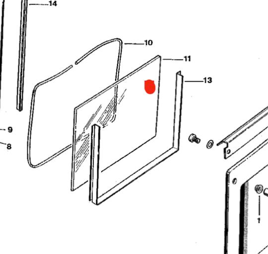Fisher Paykel Oven Door Glass inner BI600X, bict600pe, WO600X  WO600BE  WO600E, BI600P,