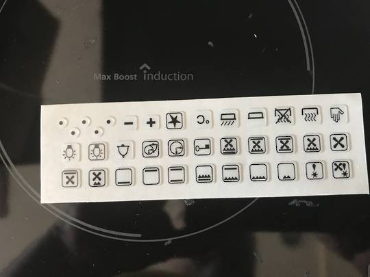 oven control panel decal sticker SYMBOLS label 7,