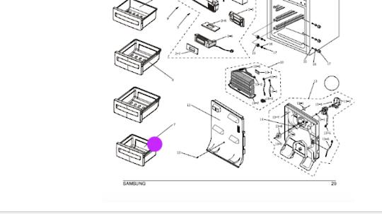 Samsung Freezer Lower Drawer SR-L321MIS, SRL321MIS, SRL322MW, SRL-322MW, SRL-321MIS,