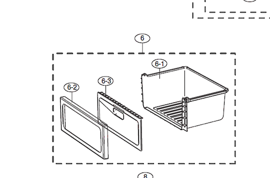 Samsung Fridge Upper Vege Draw SRS600NLS, SRS626HNSS, RS21HDUBP1/XSA, RS21HDUPN1/XSA, RS21HNTSW1/XSA, RS21HNUPN1/XSA, RS21HNUSL1