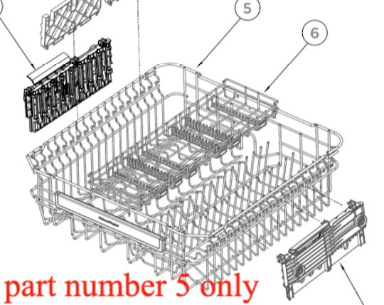 HAIER DISHWASHER Upper Basket HDW15v2w1, HDW15v2S1, HDW14G2W, HDW14G2X,