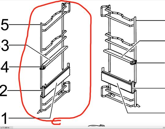 Samsung oven Left Side rack assy including  Telescopic Rail BQ1Q4T102,