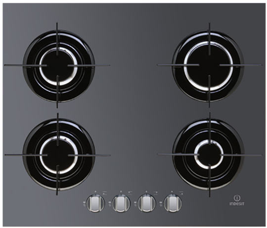 IPG 640 S BK Indesit 600mm 4 Burner Gas Hob