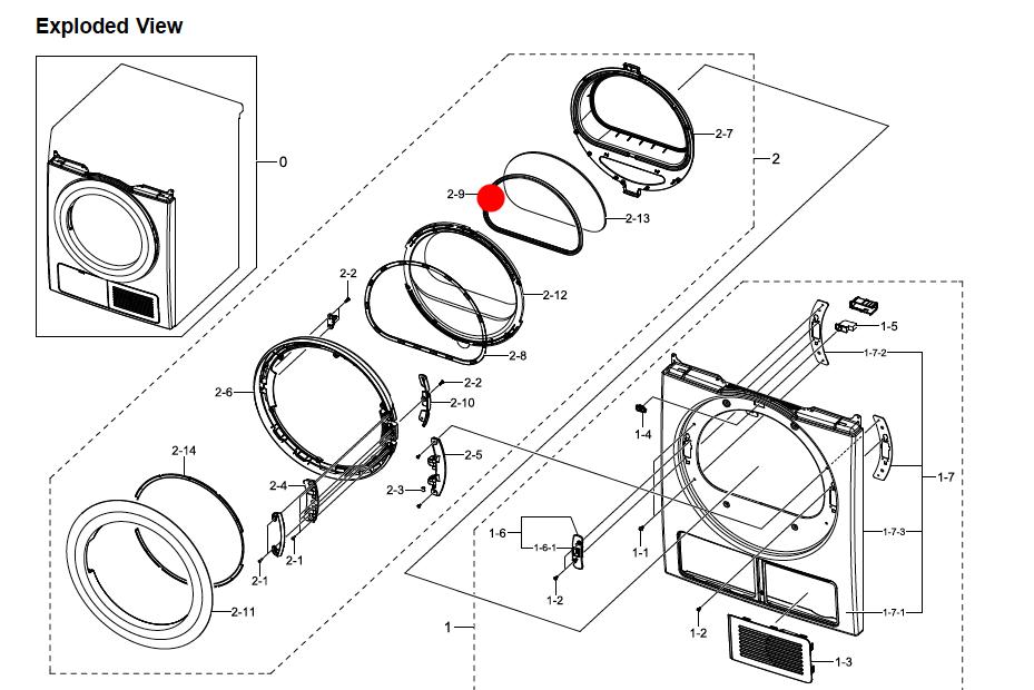 Samsung washing machine Dryer door seal dv80h4100,