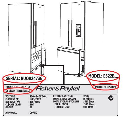 fisher paykel serial number plate label