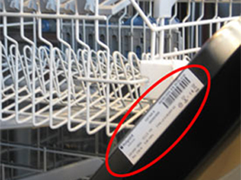 serial number plate lable dishwasher